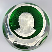 SOLD Baccarat Sulphide Paperweight Depicting Peter the Great
