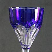 "SOLD Saint Louis Blue ""Bristol"" Cut Hock Wine Glass"