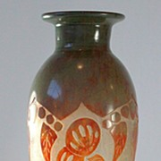 "Le Verre Francais ""Coqueret""  Pattern Cameo Vase by Schneider"