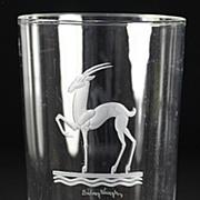 """SOLD Steuben """"Gazelle"""" Engraved Vase"""