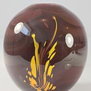 SOLD Burgundy Vase with Yellow Splash Pattern by Dominick Labino