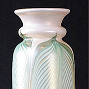 SOLD Kew Blas Pulled Feather Pattern Vase by Union Glass