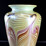 Vandermark Iridescent Pulled Pattern Vase