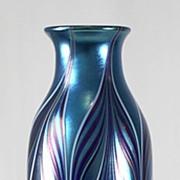 Orient & Flume Blue Iridescent Pulled Pattern Vase
