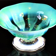 SOLD Tiffany Favrile Green Opalescent Pastel Bowl