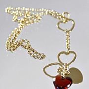 "Lalique Red ""Coeur Love"" Necklace"
