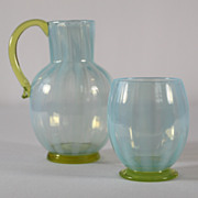 SOLD Tiffany Blue Opalescent Pitcher and Tumbler