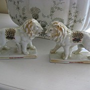 REDUCED REDUCED Pair Victorian Pearlware Lions from Edinburgh, Scotland