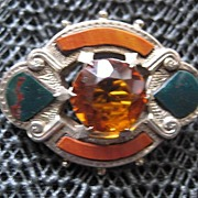 Victorian Scottish Silver Brooch w/Red Jasper & Bloodstone