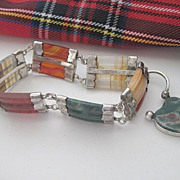 Scottish Victorian Silver and Agate Bracelet with Heart Closure