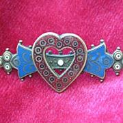 Victorian Enamel Heart Brooch