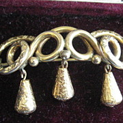 SALE Victorian Gold Filled Brooch with Three Hanging Pieces