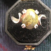 Vintage Silver Ring with Two color Agate - size 7.5