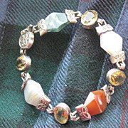 SALE SALE: Scottish Victorian Bracelet w/Celtic Design, Agates and Carnelian