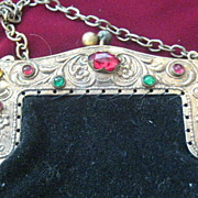 REDUCED Pretty Little Vintage Black Velvet Purse with Colored Stones