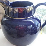 Large Vintage Cobalt Blue English Jug w/Gold Trim