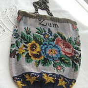 REDUCED REDUCED: Antique German Beaded Purse in Perfect Condition ANDENKEN/ZUM