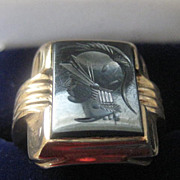 Heavy 10k Gold Man's Ring with Hematite Warrior Head, Size 10