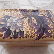 Victorian Folk Art Painted Wooden Stamp Box