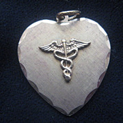 SALE Vintage Medical Symbol Heart-Shaped Charm Pendant