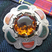 Scottish Victorian Silver Brooch with Green Bloodstone/Red Jasper