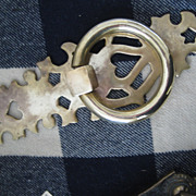 SALE Fabulous Antique Lg Brass Doorplate w/Handle & Hearts