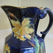 Stunning Antique English Vase, Cobalt Blue with Daffodils