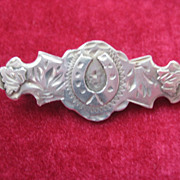 Early 1900s English Silver Pin w/Lucky Horseshoe