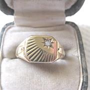 Vintage 9ct And Diamond English Signet Ring, size 7.75