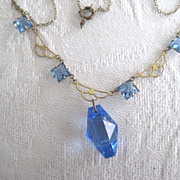 Pretty Blue Art Deco Necklace