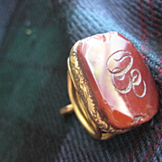 Victorian  Gold Filled Carnelian Wax Seal/Fob. Initials EO