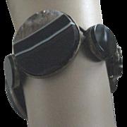 SALE SALE: Scottish Victorian Black Banded Agate Bracelet (only) Elastic