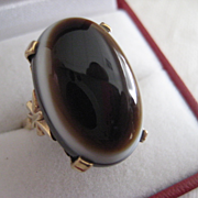 REDUCED REDUCED: Fabulous Vintage 9ct Gold Banded Agate Ring 8 to 8 1/2