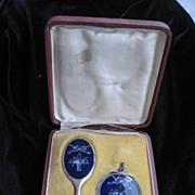 """SOLD SALE"""" Vintage Blue Enamel Alpacca Mirror & Powder Compact in Original Box"""