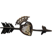 Stunning Scottish Victorian Silver Citrine Heart Brooch w/Crown