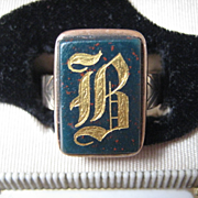 """Vintage Bloodstone and Heavy 9ct Gold """"B"""" or """"R"""" Ring, Size 12"""