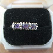 Vintage English Engagement Ring, 9ct, Amethyst & Diamond, Size 7