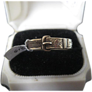 Victorian Hair Mourning Ring w/Buckle, 9ct Gold Size 8.5