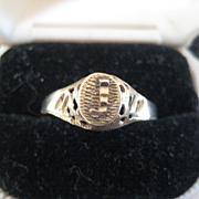 """SOLD Pretty 10K gold Signet Ring with raised  """"J"""". Size 7.5"""