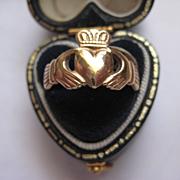 SALE PENDING Vintage 9ct gold Irish Claddagh Ring, Size 6.5