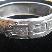 Victorian English Silver bangle w/Buckle Motif - DOES NOT OPEN