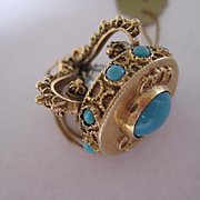 Vintage 18K Gold and Persian Turquoise Crown Charm