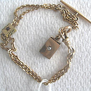 Victorian Gold Filled Bracelet with Tiny Locket and Slider