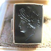 SOLD Beautifully Sculpted Rose Gold Onyx Intaglio Ring, Size 6.5
