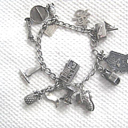 "Vintage Silver ""travelers"" Charm Bracelet w/11 Charms"