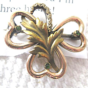 Victorian Gold Guard Chain Brooch with Hook/Emeralds