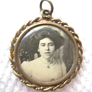 Early 1900s Portrait Pendant of Beautiful Lady - Gibson girl Hair