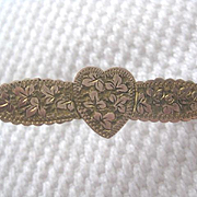 Lovely Vintage Heart Pin with Gold Engraved Front