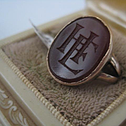 Vintage Gold ring with Carnelian - H.E. or E.H. Size 6 3/4