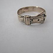 Vintage Rose Gold Buckle Ring, Size 6.75